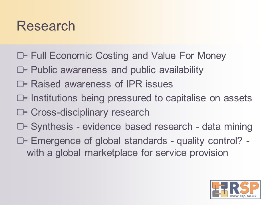 Research Full Economic Costing and Value For Money Public awareness and public availability Raised awareness of IPR issues Institutions being pressure