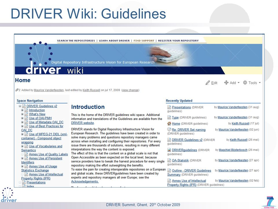 DRIVER Wiki: Guidelines DRIVER Summit, Ghent, 20 th October 2009