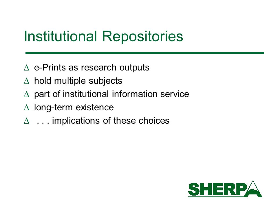 Institutional Repositories e-Prints as research outputs hold multiple subjects part of institutional information service long-term existence...