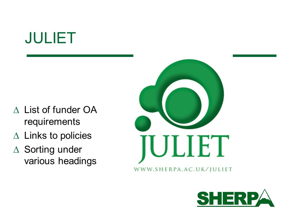 JULIET List of funder OA requirements Links to policies Sorting under various headings