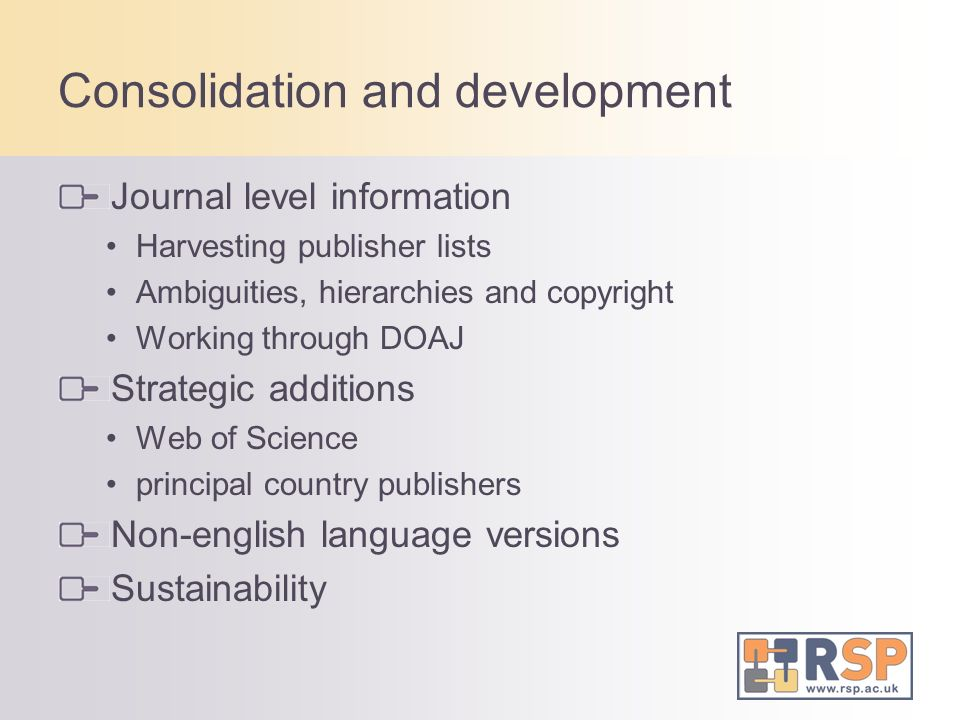 Consolidation and development Journal level information Harvesting publisher lists Ambiguities, hierarchies and copyright Working through DOAJ Strategic additions Web of Science principal country publishers Non-english language versions Sustainability