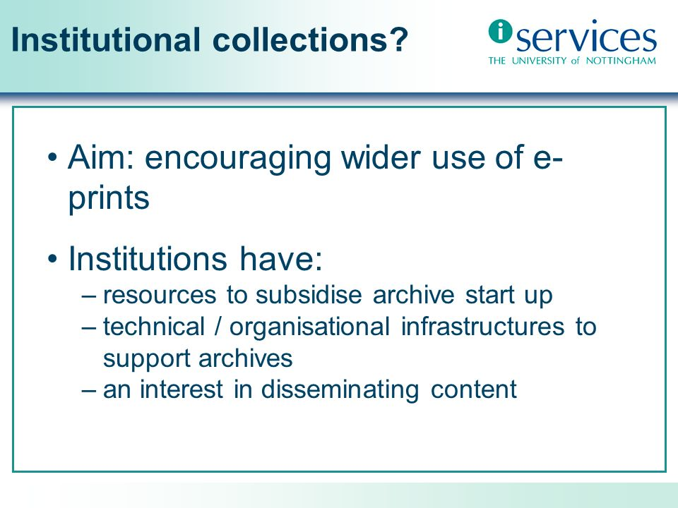 Institutional collections.