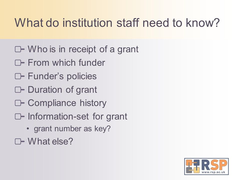 What do institution staff need to know.