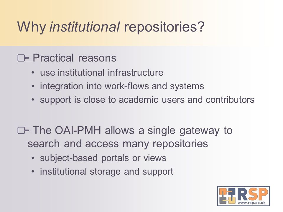 Repositories Institutions have repositories open to institutions academics Networks of repositories SHERPA, DARENet, ARROW - country networks DRIVER - European network Some specific subject repositories arXiv - 482,478 items UKPMC - 948,500 full-text articles AgentLink Publications Clearinghouse - 1403 items