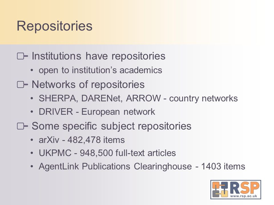 Rise of Repositories Directory of repositories - OpenDOAR www.opendoar.org 1157 open access repositories started registration in 2006...