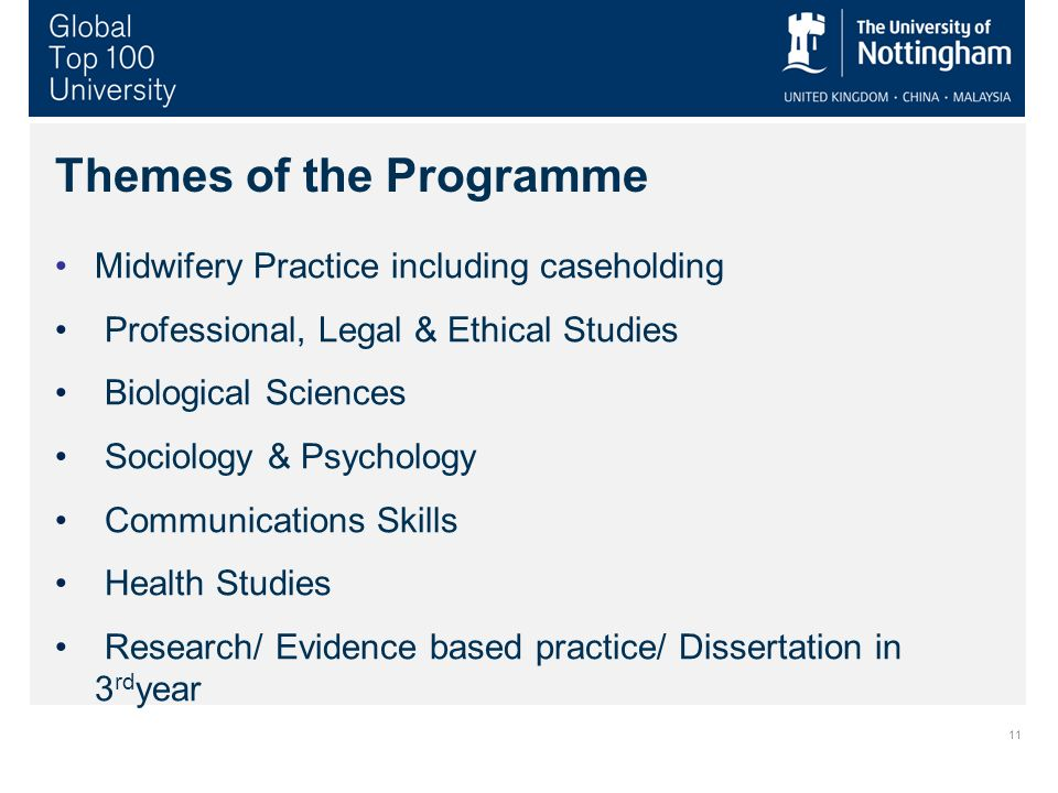 Themes of the Programme Midwifery Practice including caseholding Professional, Legal & Ethical Studies Biological Sciences Sociology & Psychology Communications Skills Health Studies Research/ Evidence based practice/ Dissertation in 3 rd year 11