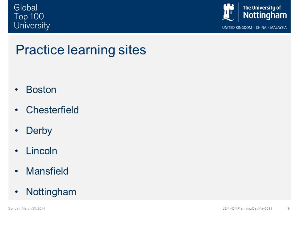 Practice learning sites Boston Chesterfield Derby Lincoln Mansfield Nottingham Sunday, March 30, 2014JEM ADMPlanning DayMay201119