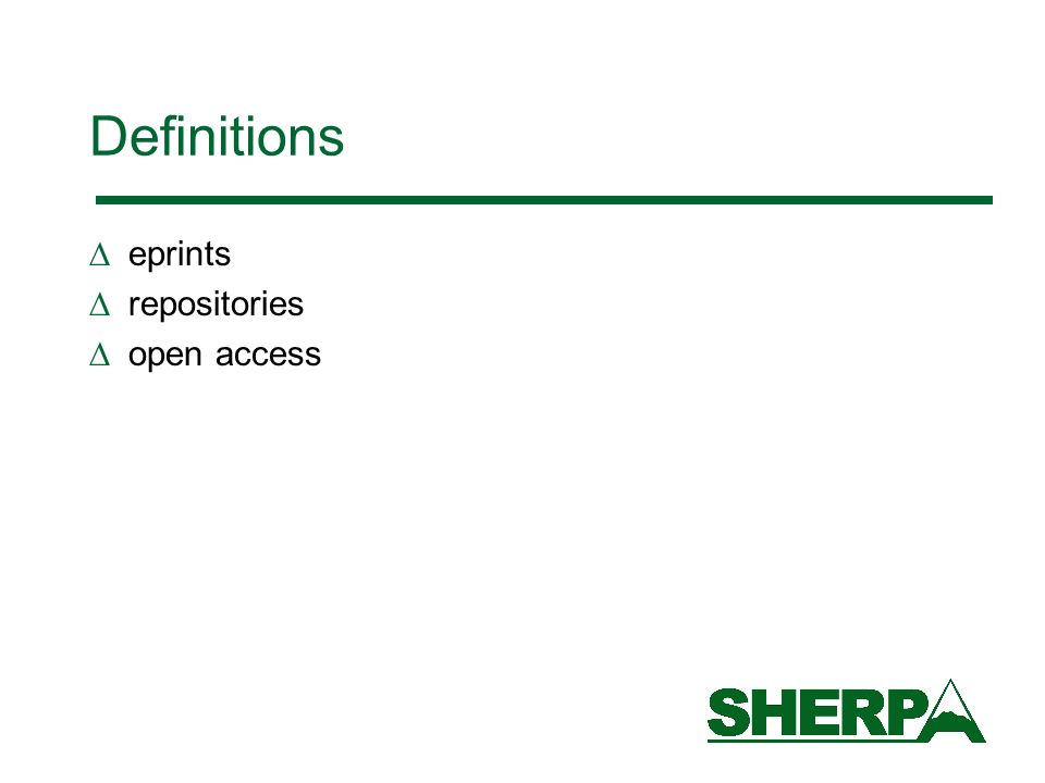 Definitions eprints repositories open access