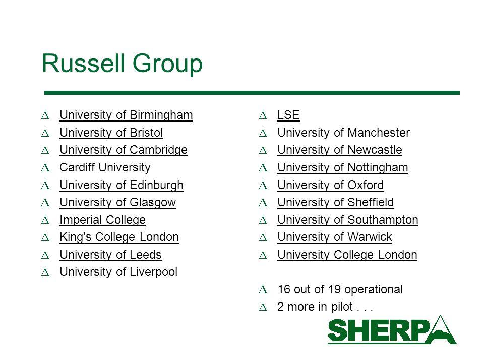 Russell Group University of Birmingham University of Bristol University of Cambridge Cardiff University University of Edinburgh University of Glasgow