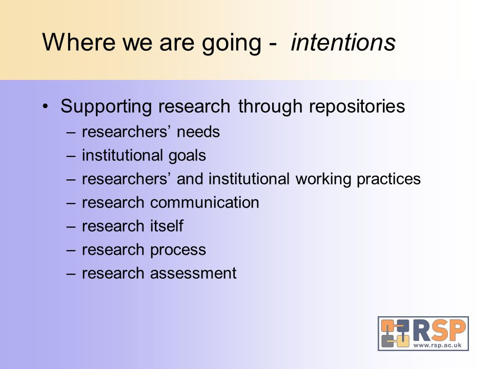 Where we are going - intentions Supporting research through repositories –researchers needs –institutional goals –researchers and institutional working practices –research communication –research itself –research process –research assessment