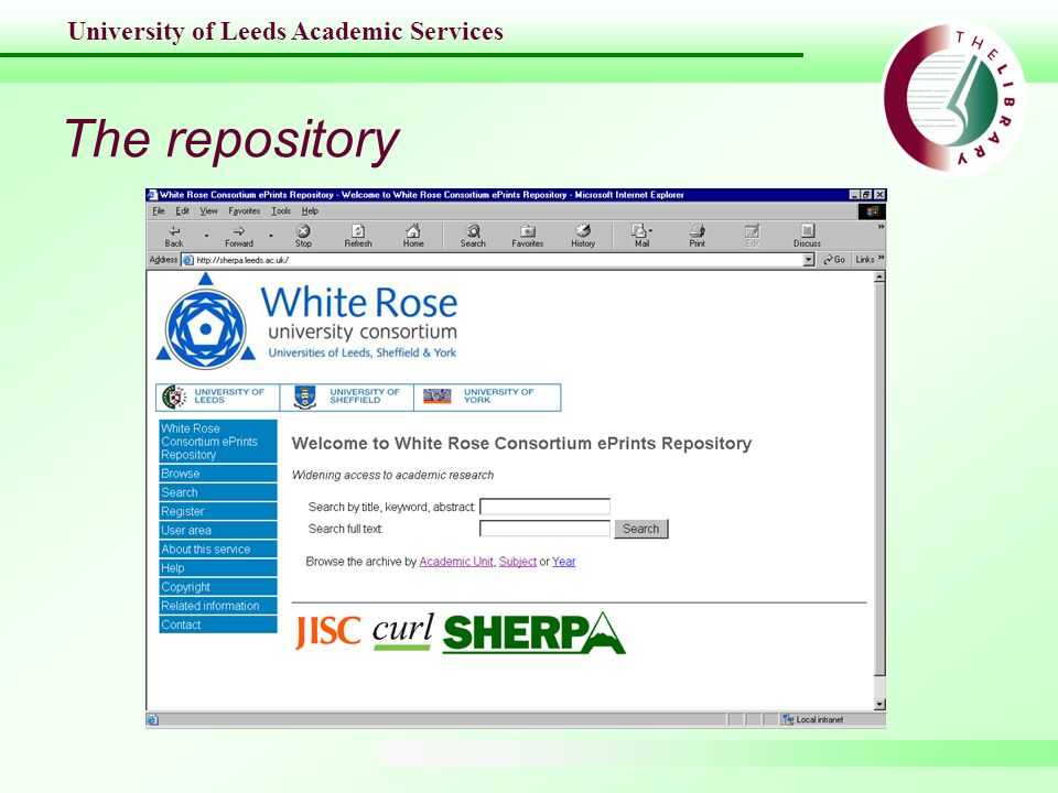 University of Leeds Academic Services The repository