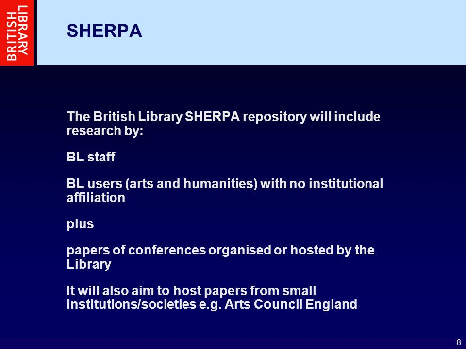 19 SHERPA projects EThOS – eTheses Project will deliver (over 18 months) a prototype UK e- theses online service will enable end-users to access the full text of elctronically stored theses from a UK Database of Theses (UKDoT) via one single web interface will enable Higer Education institutions, in partnership with the British Library, to ensure a higher level of national and international visibility for the UK postgraduate research output, as well as its preservation in perpetuity