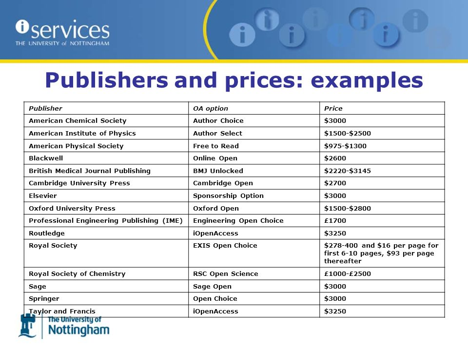 Publishers and prices: examples PublisherOA optionPrice American Chemical SocietyAuthor Choice$3000 American Institute of PhysicsAuthor Select$1500-$2500 American Physical SocietyFree to Read$975-$1300 BlackwellOnline Open$2600 British Medical Journal PublishingBMJ Unlocked$2220-$3145 Cambridge University PressCambridge Open$2700 ElsevierSponsorship Option$3000 Oxford University PressOxford Open$1500-$2800 Professional Engineering Publishing (IME)Engineering Open Choice£1700 RoutledgeiOpenAccess$3250 Royal SocietyEXIS Open Choice$278-400 and $16 per page for first 6-10 pages, $93 per page thereafter Royal Society of ChemistryRSC Open Science£1000-£2500 SageSage Open$3000 SpringerOpen Choice$3000 Taylor and FrancisiOpenAccess$3250
