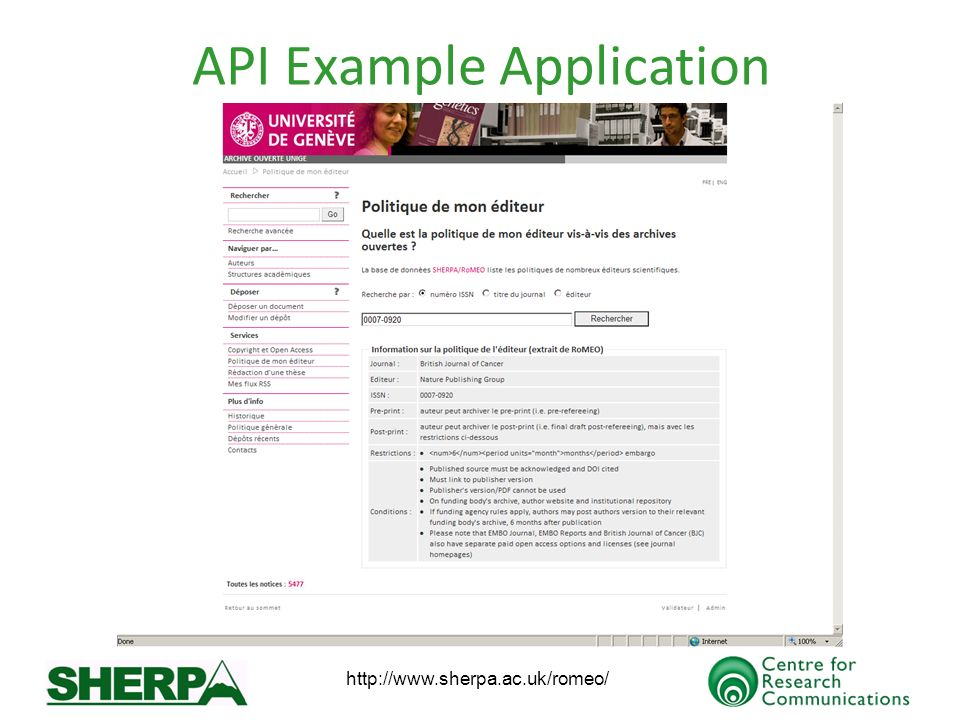 http://www.sherpa.ac.uk/romeo/ API Example Application