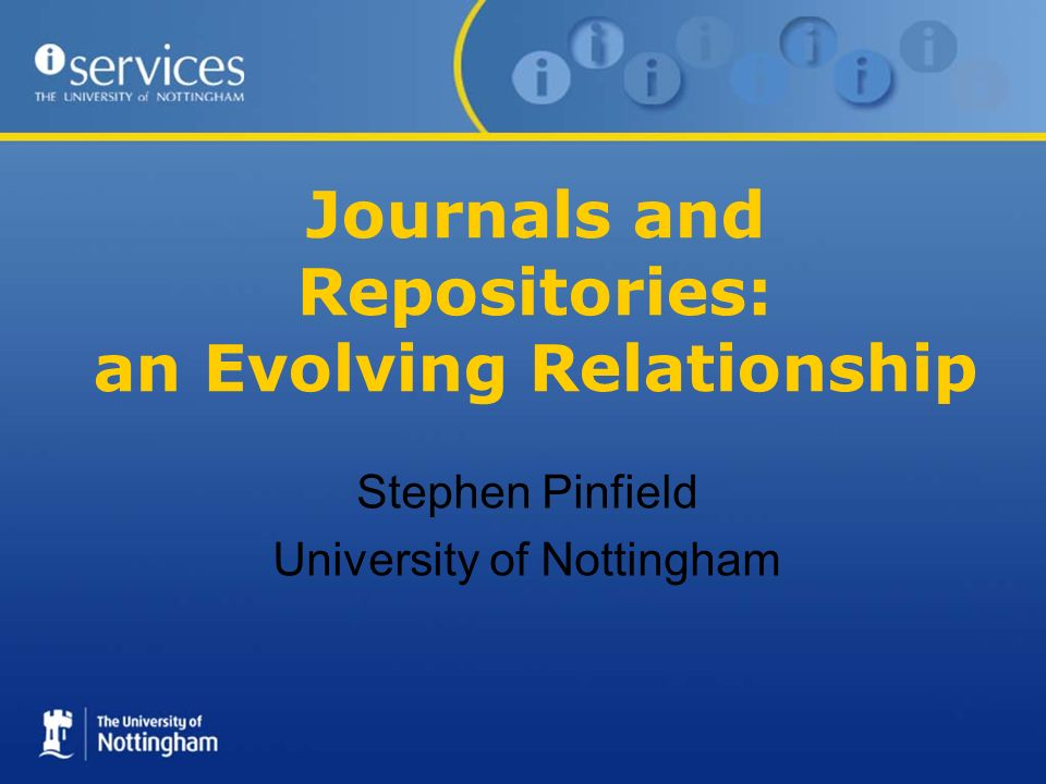 RepositoryJournal Author writes paper Author submits papers to OA/hybrid journal Editor and referees peer-review paper Author revises paper Author submits final version Publisher copy edits and formats paper Publisher deposits paper in repository Repository processes paper further Repository manages preservation Publisher links to paper Repository makes paper available (publishes it) Journal Repository (2)