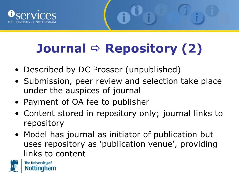 Described by DC Prosser (unpublished) Submission, peer review and selection take place under the auspices of journal Payment of OA fee to publisher Co
