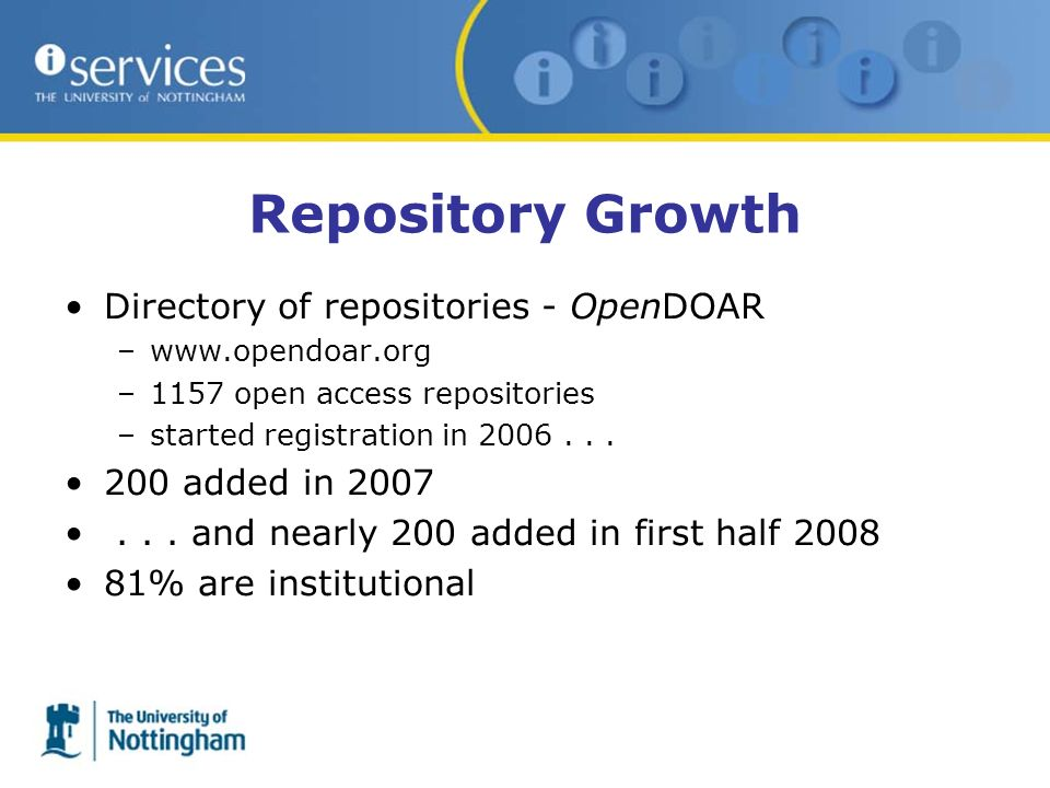 Repository Growth Directory of repositories - OpenDOAR –www.opendoar.org –1157 open access repositories –started registration in 2006... 200 added in