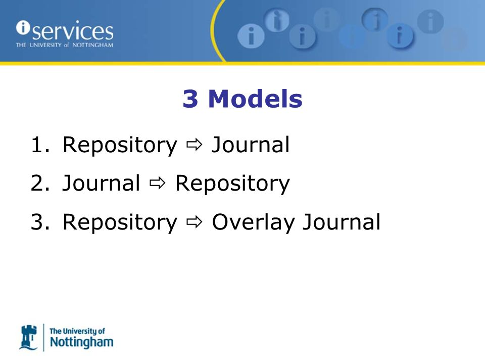 3 Models 1.Repository Journal 2.Journal Repository 3.Repository Overlay Journal