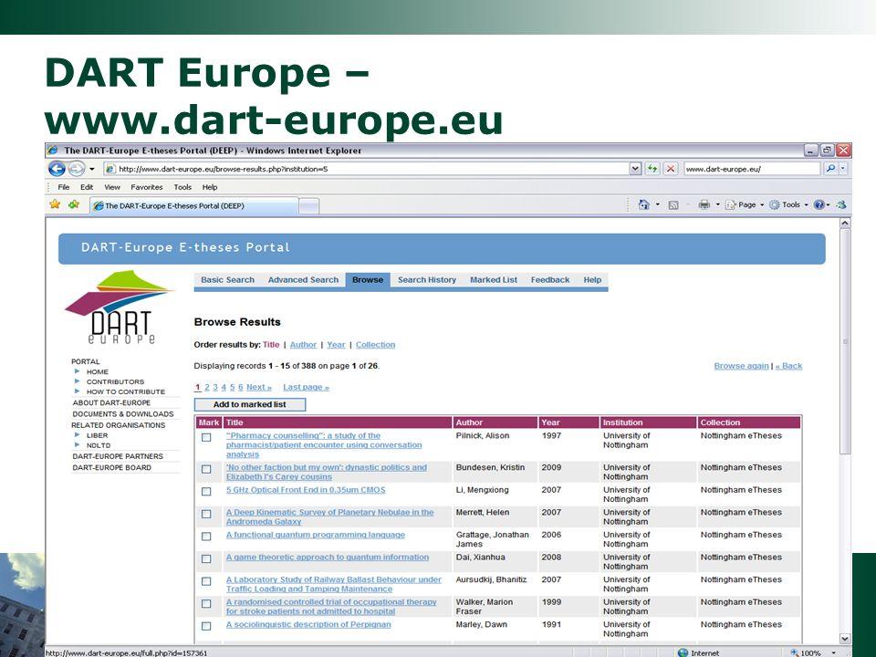DART Europe – www.dart-europe.eu