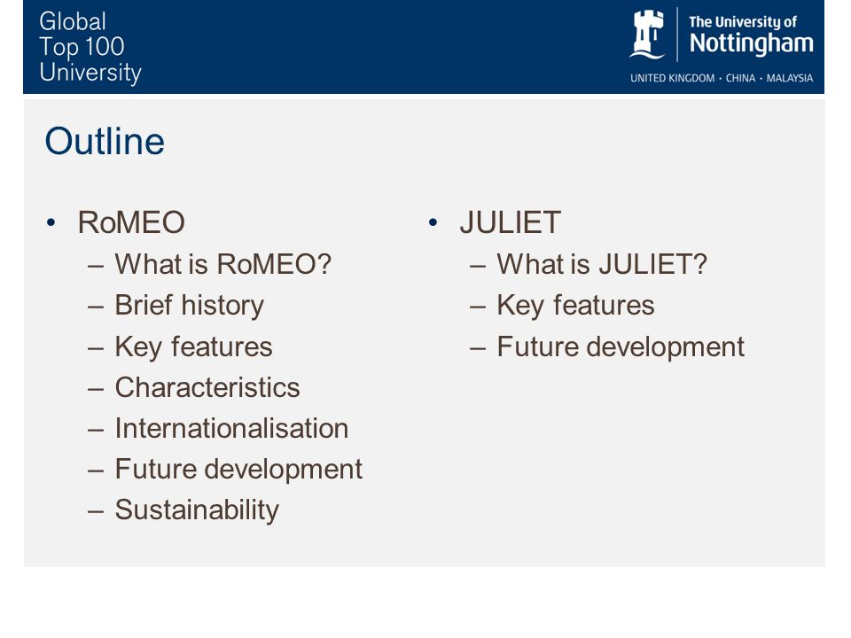 Sustainability of RoMEO 2003-2006 not directly funded 2006 onwards JISC funding, augmented by RLUK, Wellcome and SPARC Europe Possible futures: –Continued sponsorship –Private-sector investment –Institutional contributions –Crowd sourcing v managed service: balance And JULIET?