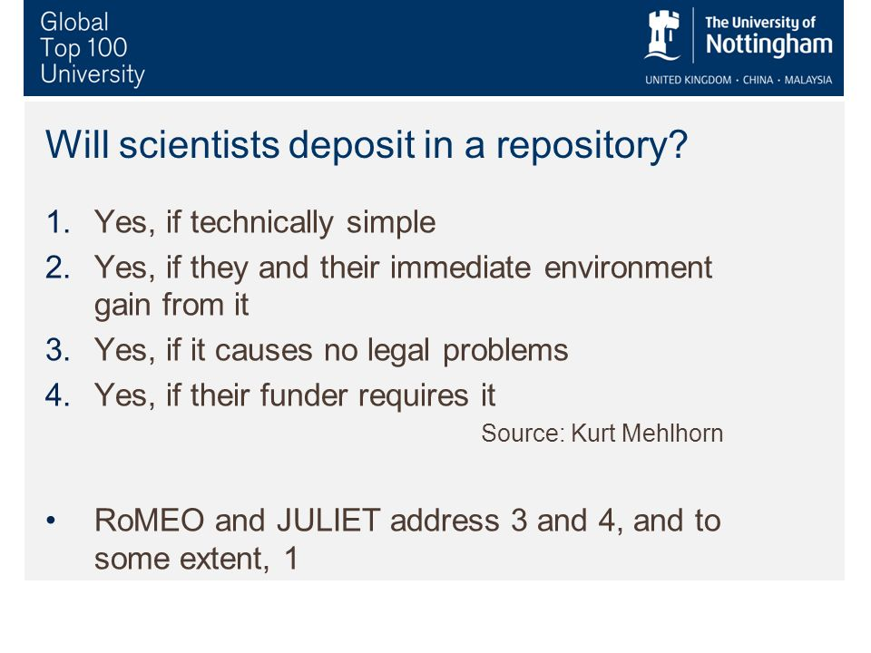 Will scientists deposit in a repository.