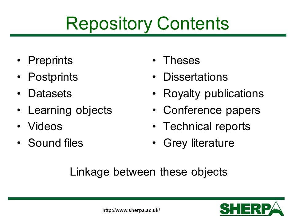 Repository Contents Preprints Postprints Datasets Learning objects Videos Sound files Theses Dissertations Royalty publications Conference papers Technical reports Grey literature Linkage between these objects
