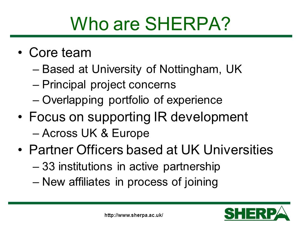 Who are SHERPA.