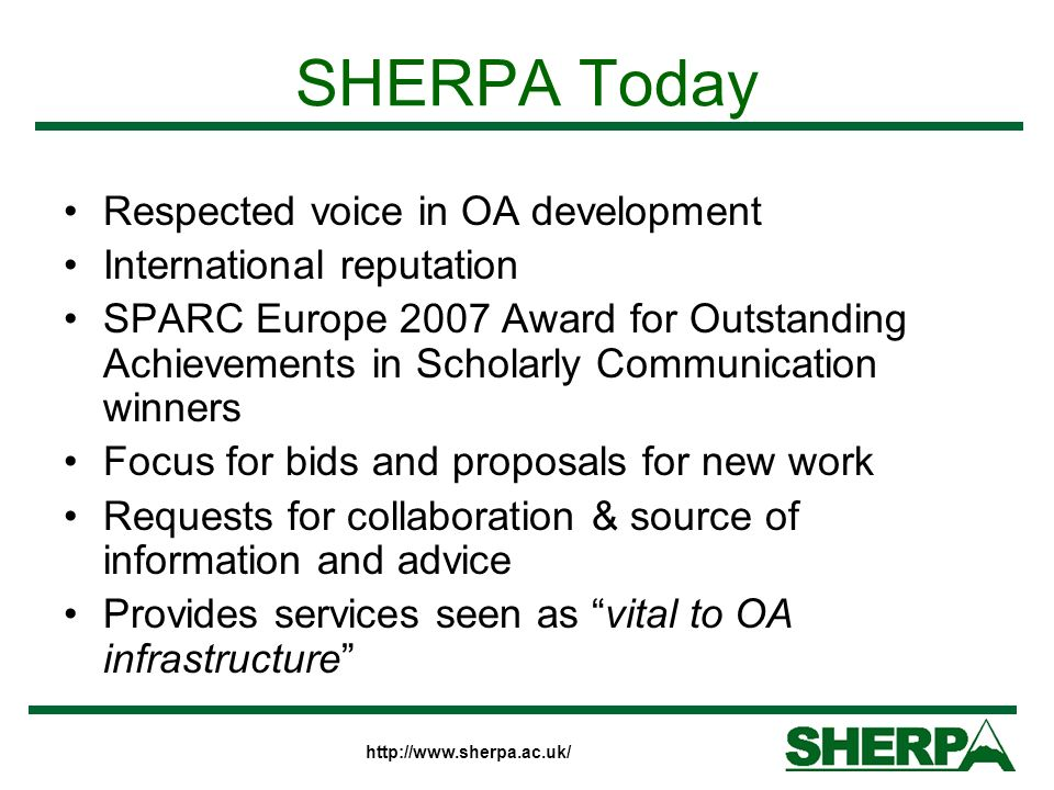 http://www.sherpa.ac.uk/ Open Access Landscape Open Access - definitions Open Access Journals Open Access Repositories Data Providers and Service Providers Repository networks Less of a niche activity