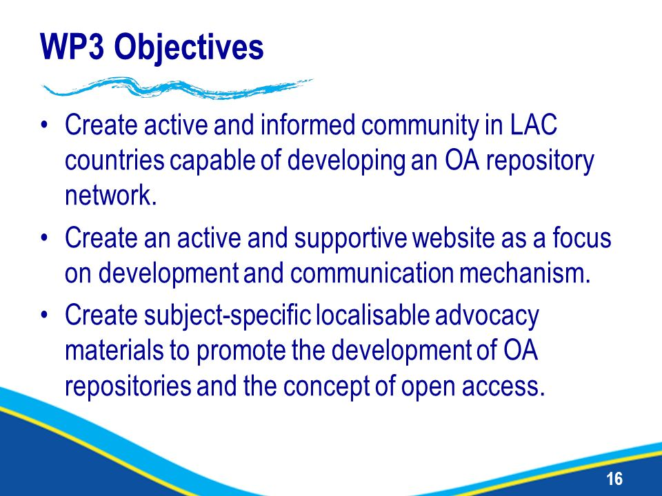 16 WP3 Objectives Create active and informed community in LAC countries capable of developing an OA repository network. Create an active and supportiv