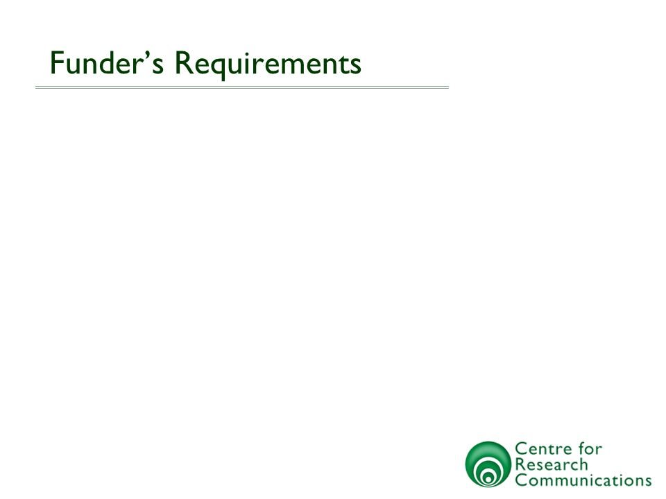 Funders Requirements