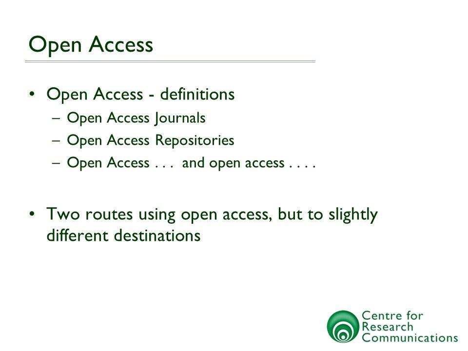 Open Access Open Access - definitions –Open Access Journals –Open Access Repositories –Open Access...