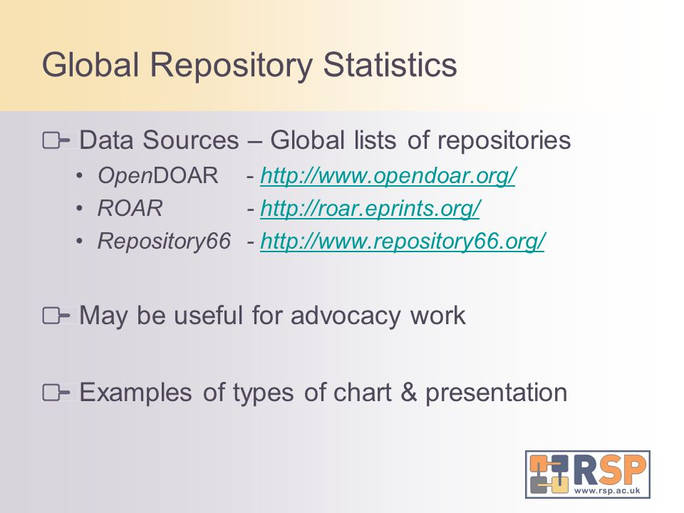 Global Repository Statistics Data Sources – Global lists of repositories OpenDOAR- http://www.opendoar.org/http://www.opendoar.org/ ROAR- http://roar.