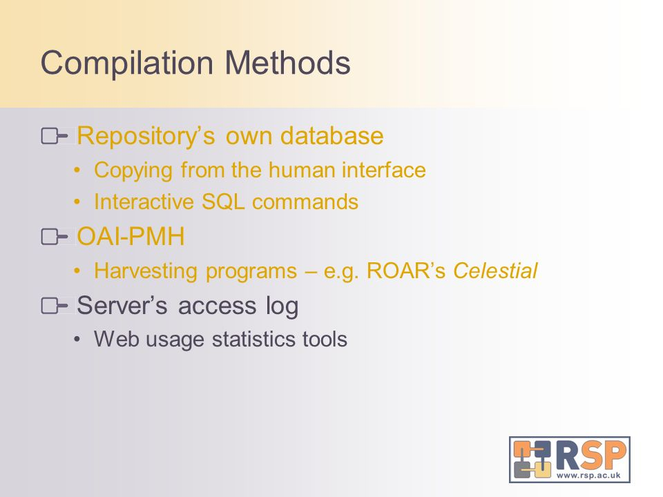 Compilation Methods Repositorys own database Copying from the human interface Interactive SQL commands OAI-PMH Harvesting programs – e.g. ROARs Celest