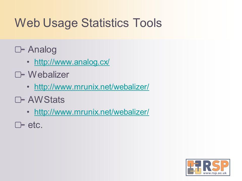 Web Usage Statistics Tools Analog http://www.analog.cx/ Webalizer http://www.mrunix.net/webalizer/ AWStats http://www.mrunix.net/webalizer/ etc.