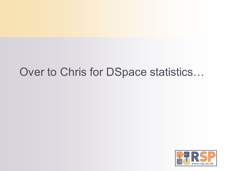 Over to Chris for DSpace statistics…