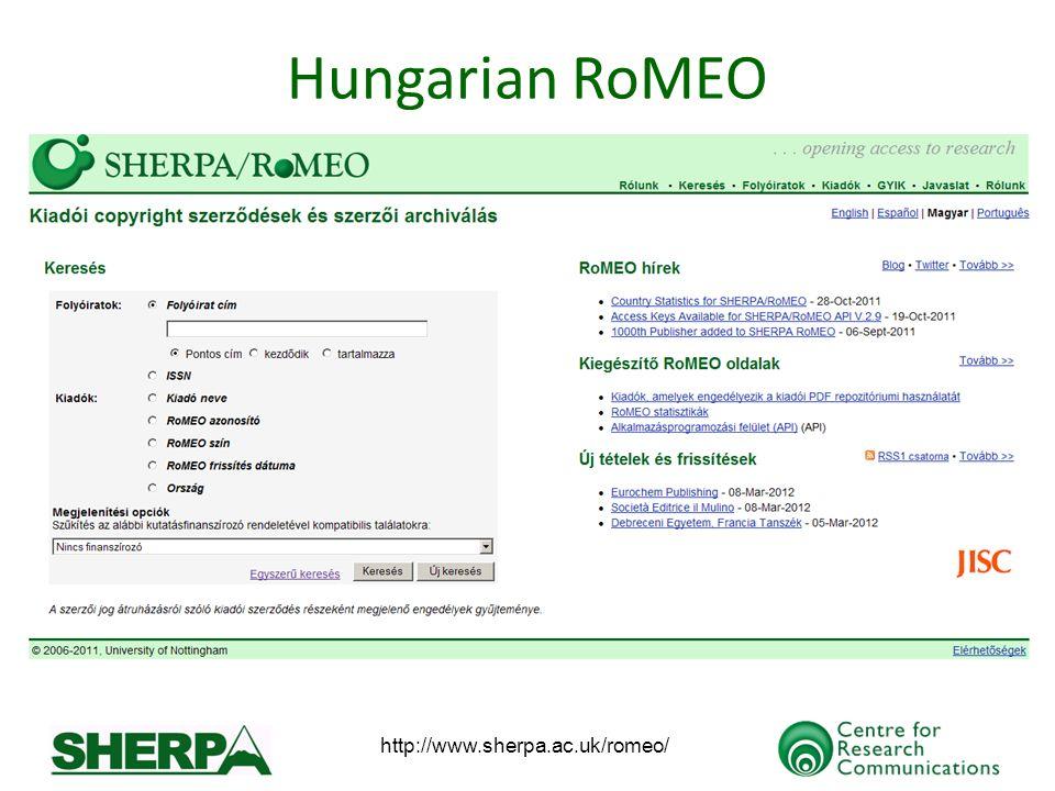 http://www.sherpa.ac.uk/romeo/ Hungarian RoMEO