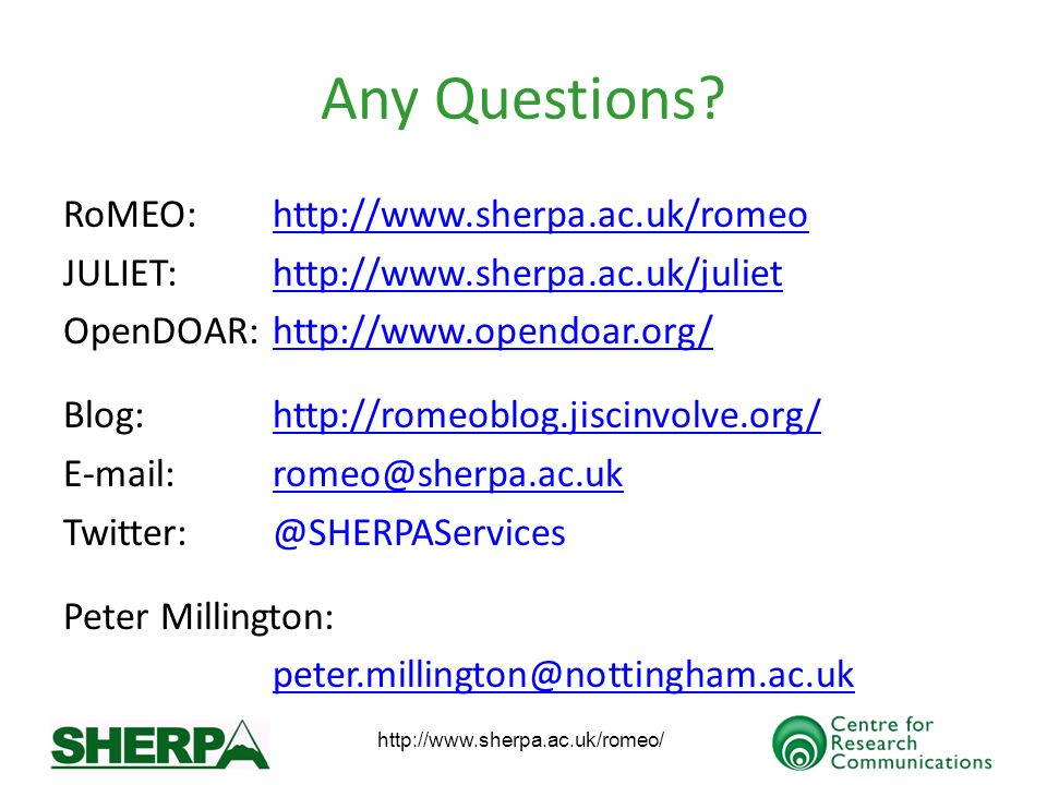 http://www.sherpa.ac.uk/romeo/ Any Questions.