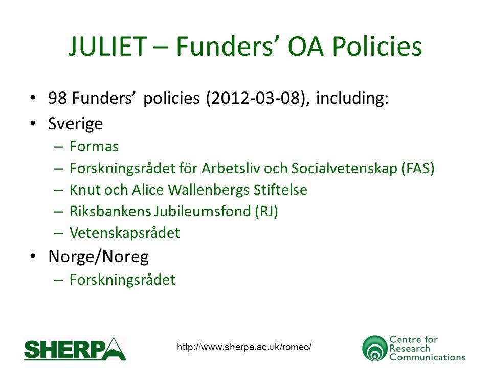 JULIET – Funders OA Policies 98 Funders policies (2012-03-08), including: Sverige – Formas – Forskningsrådet för Arbetsliv och Socialvetenskap (FAS) –