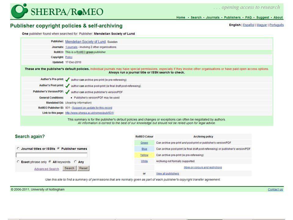 http://www.sherpa.ac.uk/romeo/