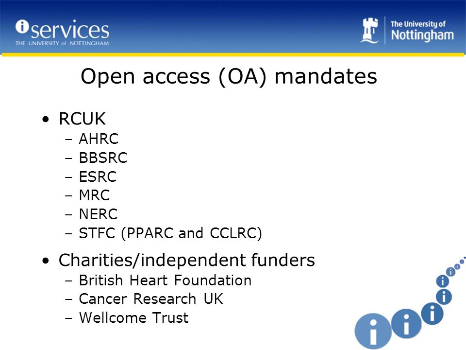 Open access (OA) mandates RCUK –AHRC –BBSRC –ESRC –MRC –NERC –STFC (PPARC and CCLRC) Charities/independent funders –British Heart Foundation –Cancer Research UK –Wellcome Trust