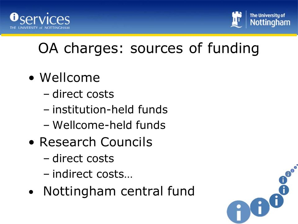 OA charges: sources of funding Wellcome –direct costs –institution-held funds –Wellcome-held funds Research Councils –direct costs –indirect costs… Nottingham central fund