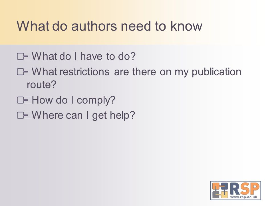 What do authors need to know What do I have to do.
