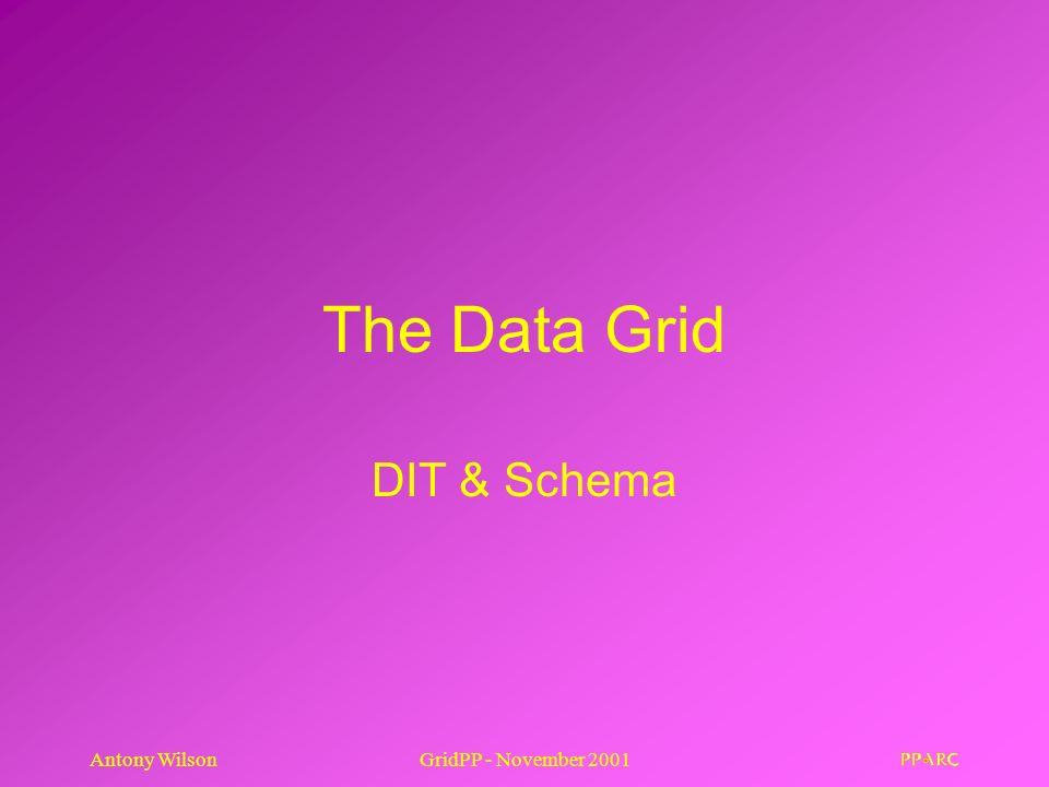 Antony WilsonGridPP - November 2001 The Data Grid DIT & Schema
