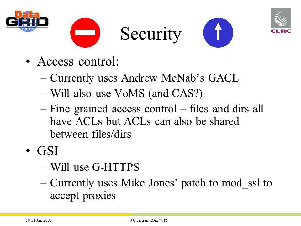 30-31 Jan 2003J G Jensen, RAL/WP5 Security Access control: –Currently uses Andrew McNabs GACL –Will also use VoMS (and CAS ) –Fine grained access control – files and dirs all have ACLs but ACLs can also be shared between files/dirs GSI –Will use G-HTTPS –Currently uses Mike Jones patch to mod_ssl to accept proxies