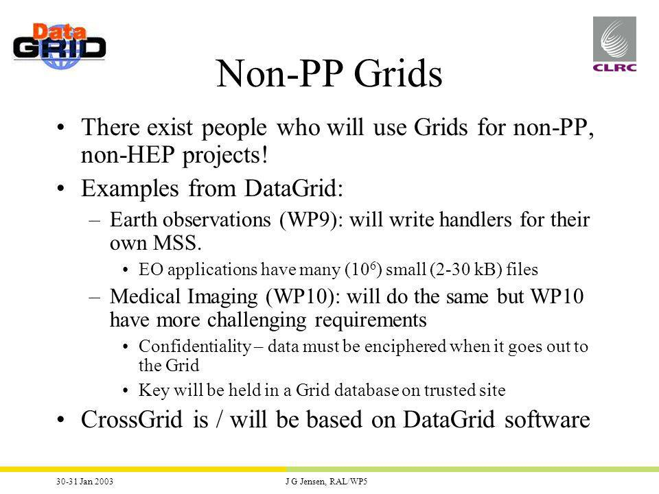 30-31 Jan 2003J G Jensen, RAL/WP5 Non-PP Grids There exist people who will use Grids for non-PP, non-HEP projects.