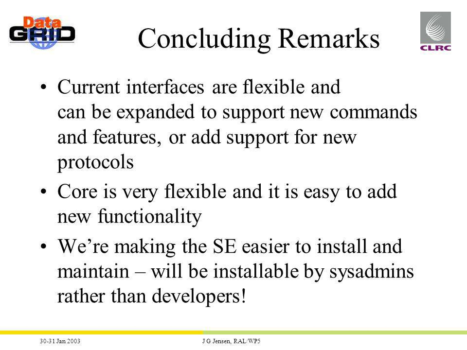 30-31 Jan 2003J G Jensen, RAL/WP5 Concluding Remarks Current interfaces are flexible and can be expanded to support new commands and features, or add support for new protocols Core is very flexible and it is easy to add new functionality Were making the SE easier to install and maintain – will be installable by sysadmins rather than developers!