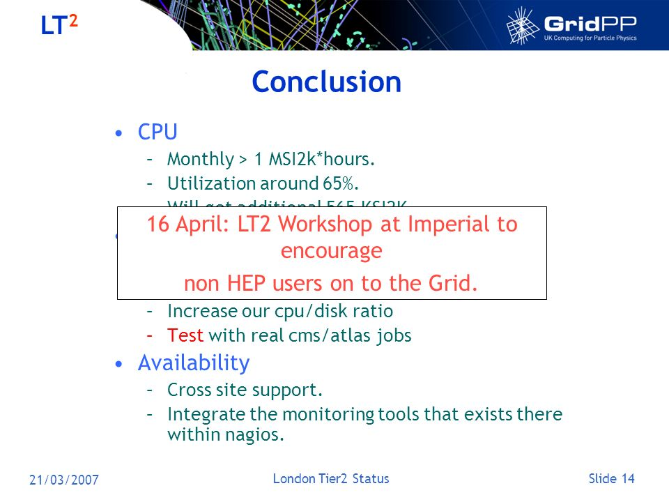 Slide 14 LT 2 21/03/2007 London Tier2 Status Conclusion CPU –Monthly > 1 MSI2k*hours. –Utilization around 65%. –Will get additional 565 KSI2K. Disk –W