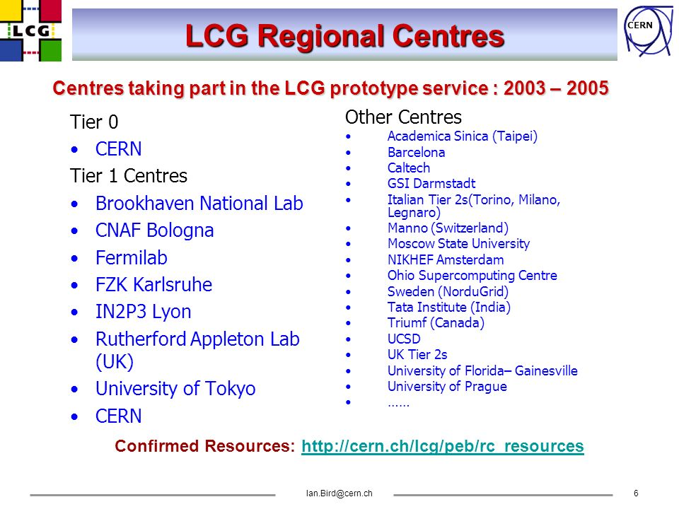 CERN Ian.Bird@cern.ch6 LCG Regional Centres Tier 0 CERN Tier 1 Centres Brookhaven National Lab CNAF Bologna Fermilab FZK Karlsruhe IN2P3 Lyon Rutherfo