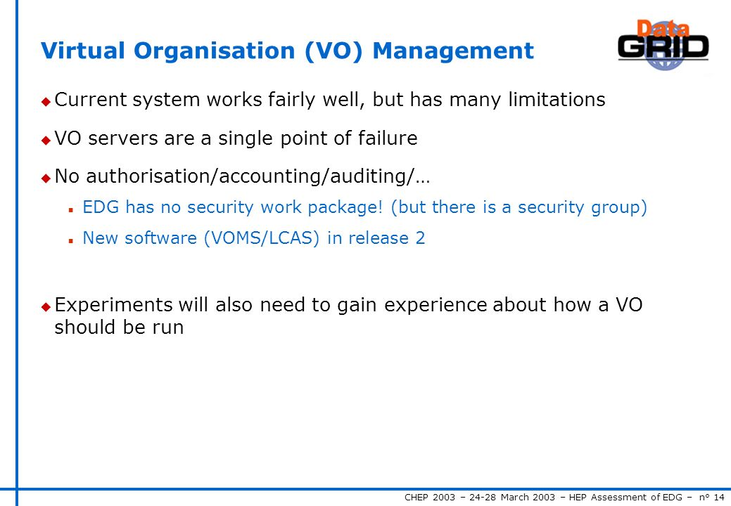 CHEP 2003 – 24-28 March 2003 – HEP Assessment of EDG – n° 14 Virtual Organisation (VO) Management u Current system works fairly well, but has many limitations u VO servers are a single point of failure u No authorisation/accounting/auditing/… n EDG has no security work package.