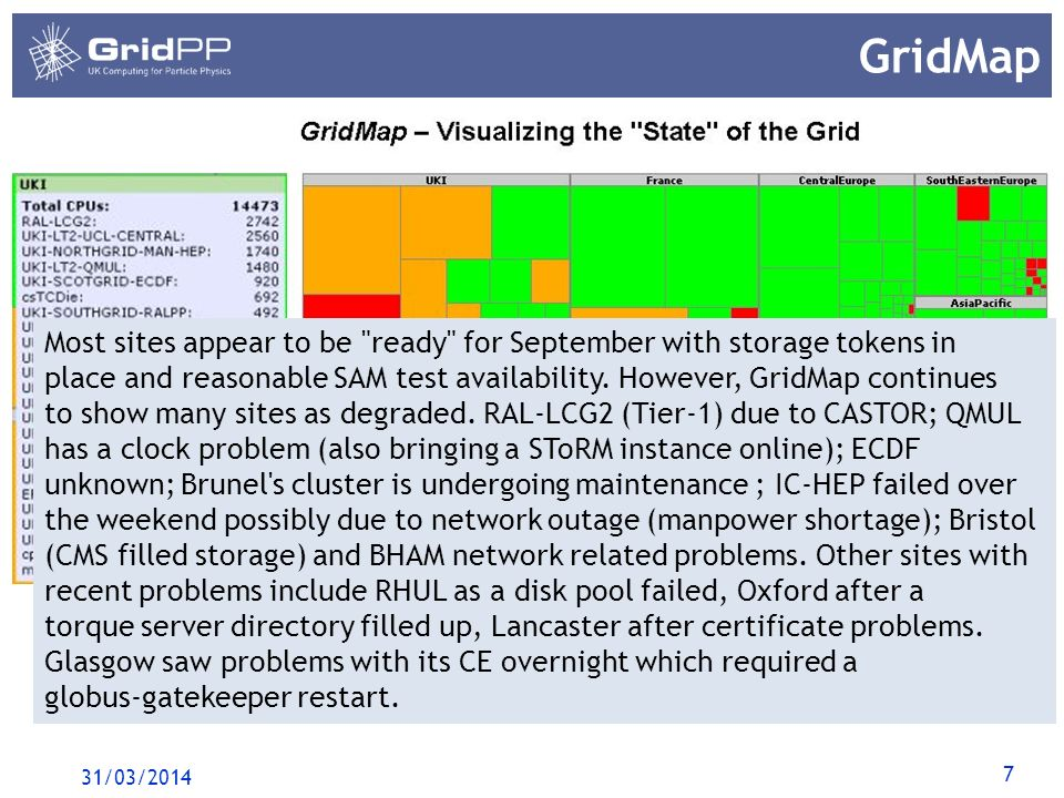 7 GridMap 31/03/2014 Most sites appear to be ready for September with storage tokens in place and reasonable SAM test availability.